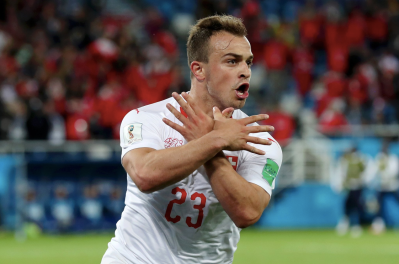 Shaqiri celebrates (Credit: Indy Football)